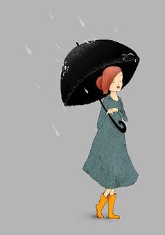 Rain, Girl, Umbrella, Weather, Wet, Fun
