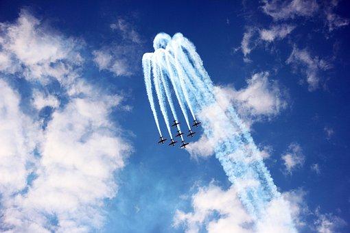 Planes, Sky, Blue, Smoke, Squadron