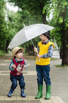 Deštník, Ulice, Chlapci, Děti, Boty