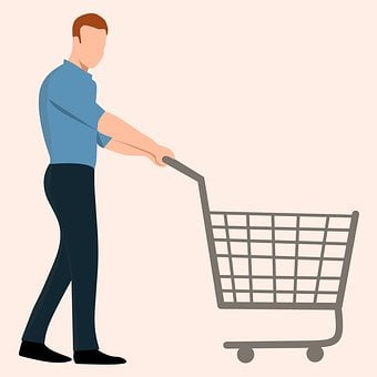 Cart, Drawn, Adult, Shopping