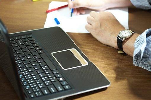 仕事, 書き込み, 紙, ビジネス, オフィス, コンピュータ, デスク