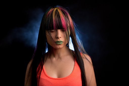 Woman with dyed hair