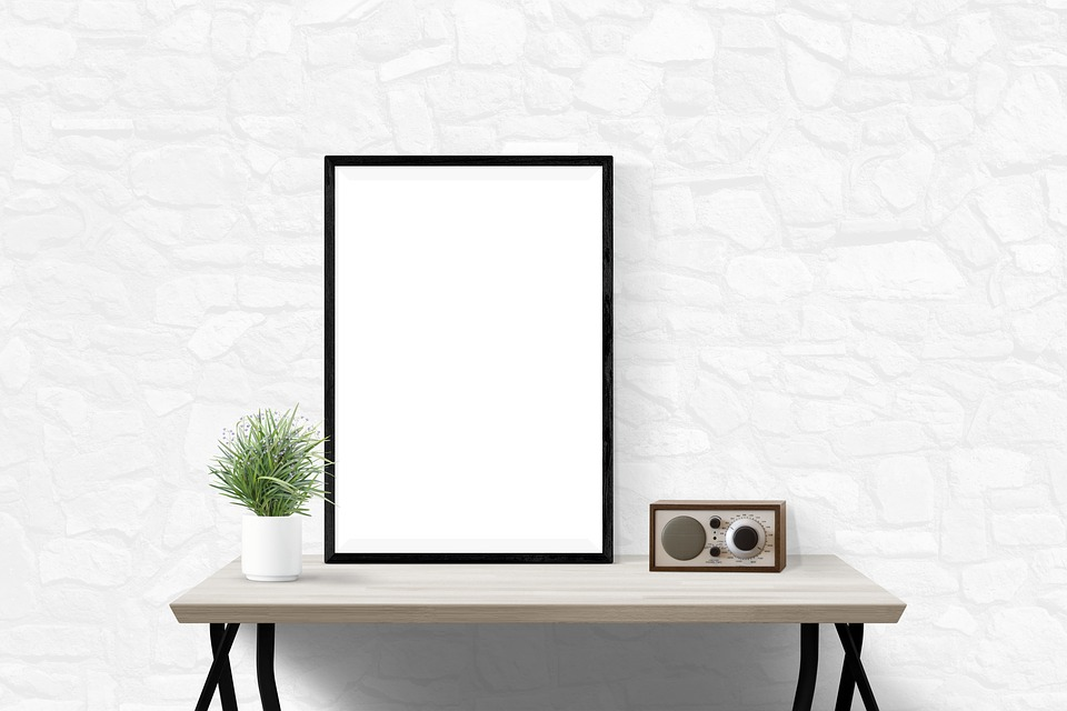 Delightful Poster Mockup Decor Desk Interior Presentation