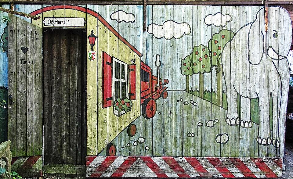 Holztor Garagentor Bemalt Grafitti Gemälde Malerei