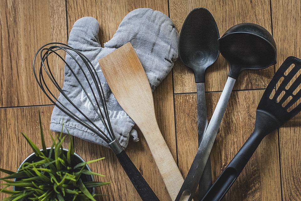 Kuchnia, Rękawica, Kuchenna, Łyżka, Drewniana, Plastik