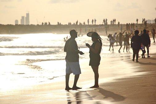 Beach, Love, Sunset, Sea, Man, Woman