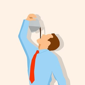 Businessman, Coffee, Pouring, Throat