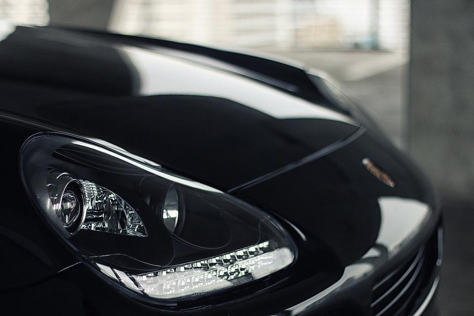 車, エキゾチックです, 豪華な, ヘッドライト, Suv, ブラック, ポルシェ