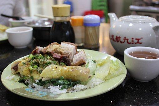 Comida China, El Pollo Y El Arroz