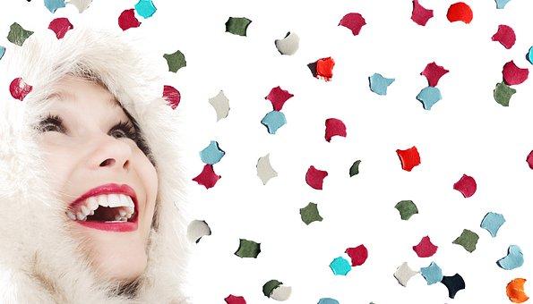 女性, 楽しい, 陽気な, 気分, 顔, 紙吹雪, 喜び, 笑う, おかしい