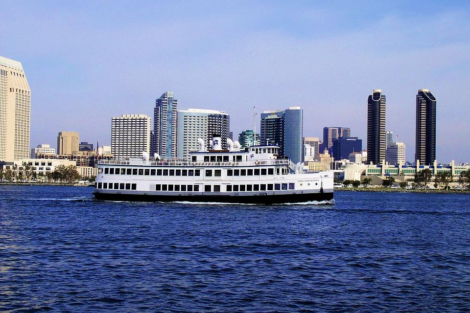 San Diego Skyline Ocean Boats California Water