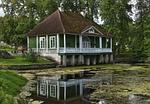 summer house, mirroring, lake