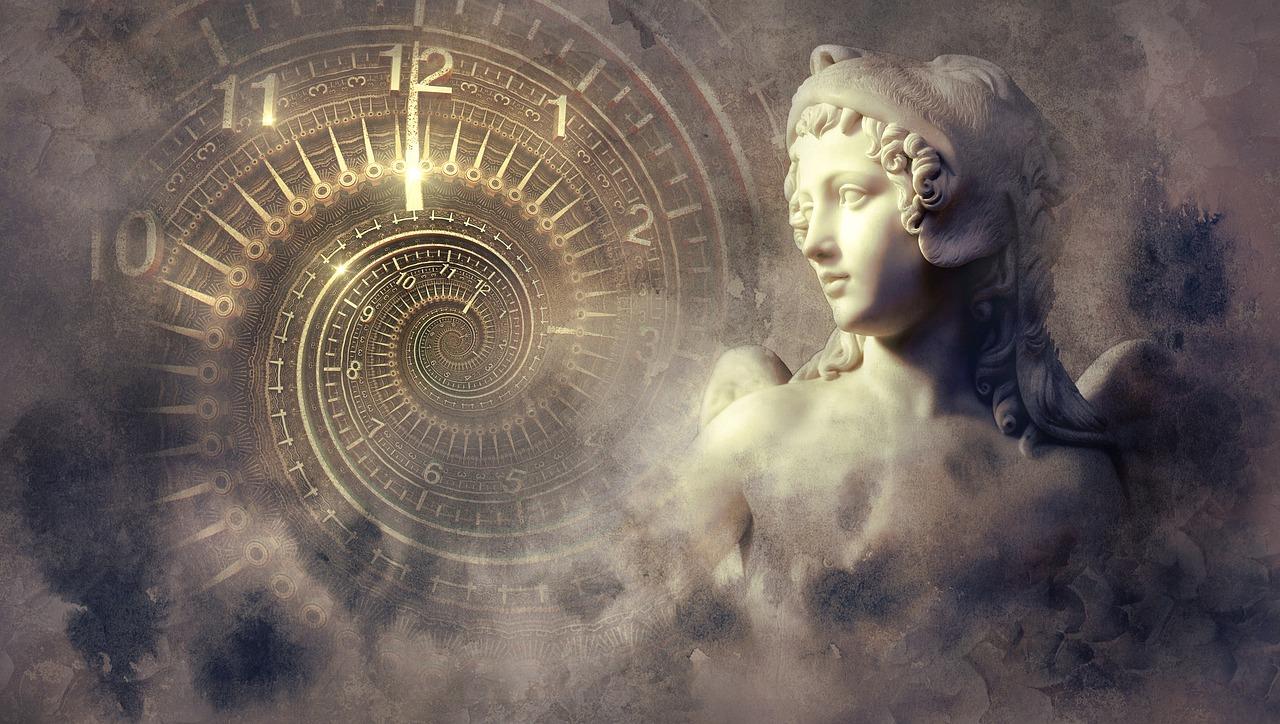 ファンタジー, クロック, 像, 光, スパイラル, 天使, 神秘的な, 構成します, フォトモンタージュ