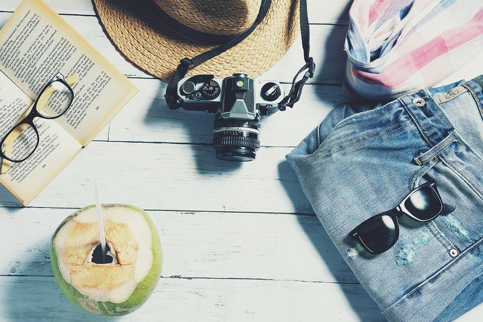 夏, トラベル, 休暇, 休日, 旅行, 旅, 余暇, 静物, フラットレイ
