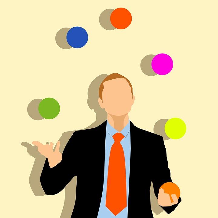Balls, Businessman, Colorful, Juggling, Suit, Tie