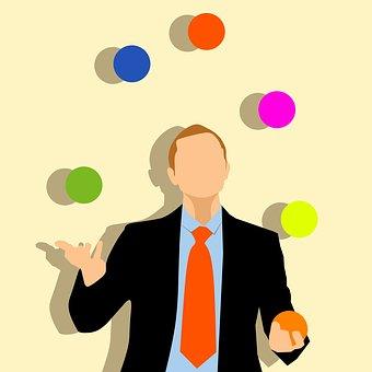 Balls, Businessman, Colorful, Juggling
