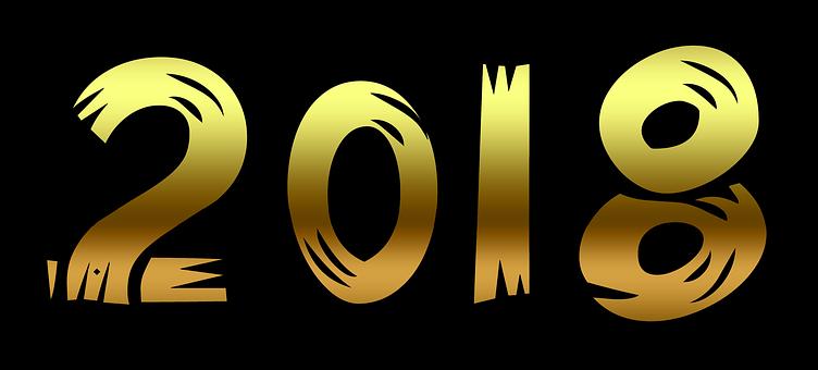 Text, Gold, Golden, 2018, New Year