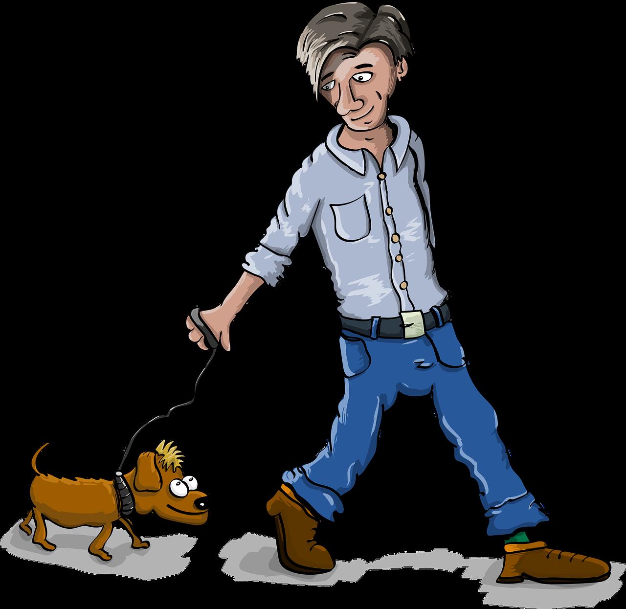 Смешная картинка гуляю с собакой