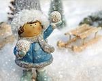 girl, figure, snow ball