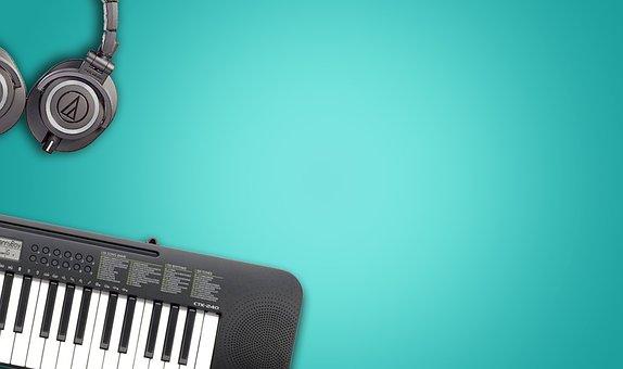 Music Instruments, Blue Background