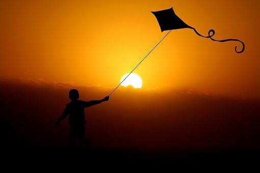 Kind, Junge, Drache, Drachenflug, Wind