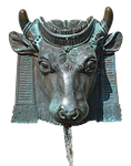 fountain, bull, horns