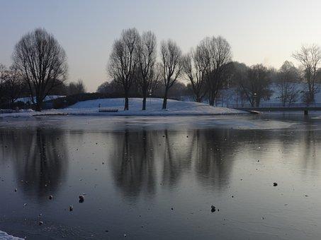 湖, 冬天, 冻结, 冰, 雪, 寒冬, 树木, 性质, 结冰的湖面, 反映