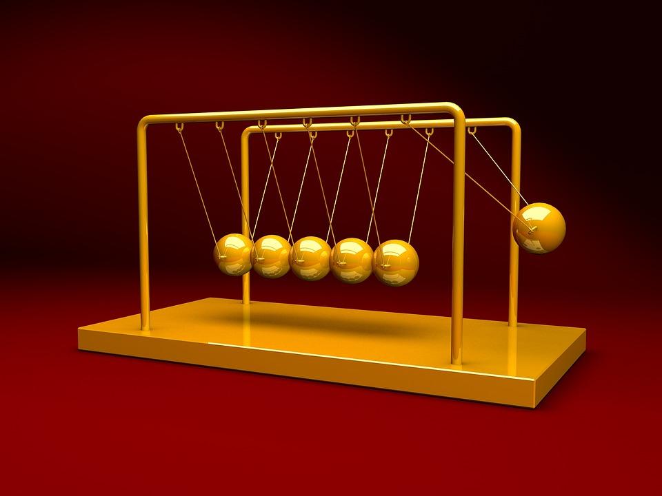 ニュートン, クレードル, 物理学, 振り子, 金属, バランス, 運動, 科学, ボール, 球, 3 D