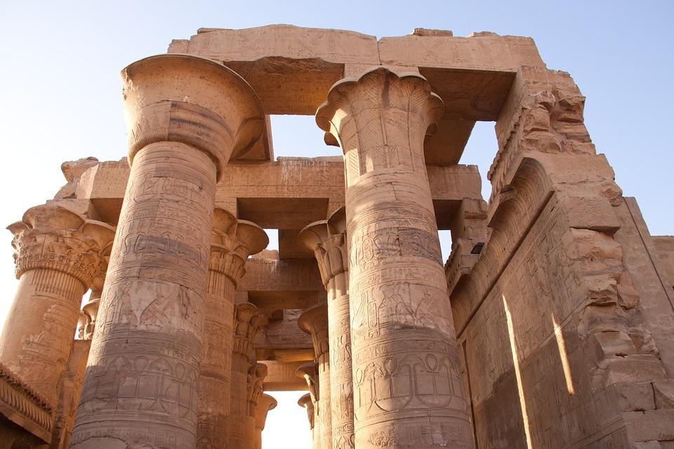 Templo, Egipcio, Pilares, Ruinas, Uit, Estructura