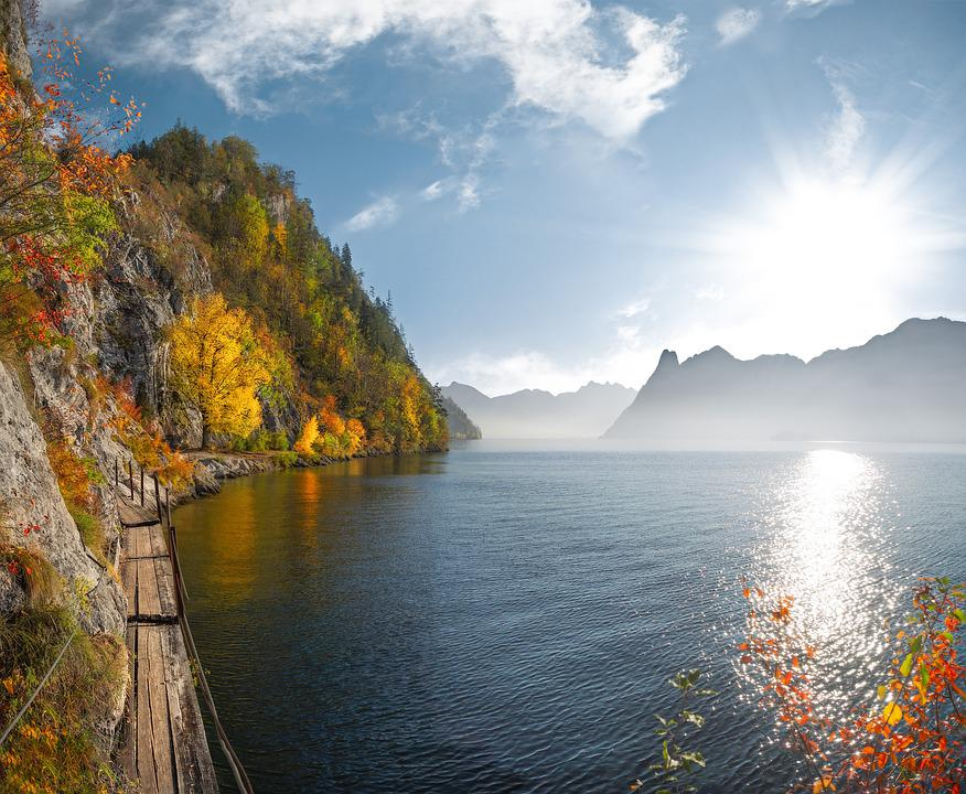 Lago, Traunsee, Austria, Autunno, Paesaggio, Natura