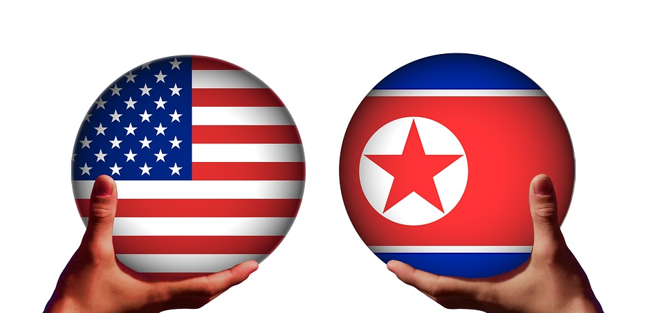 Usa, North Korea, Conflict, Trump, Kim Jong-Un, Flag