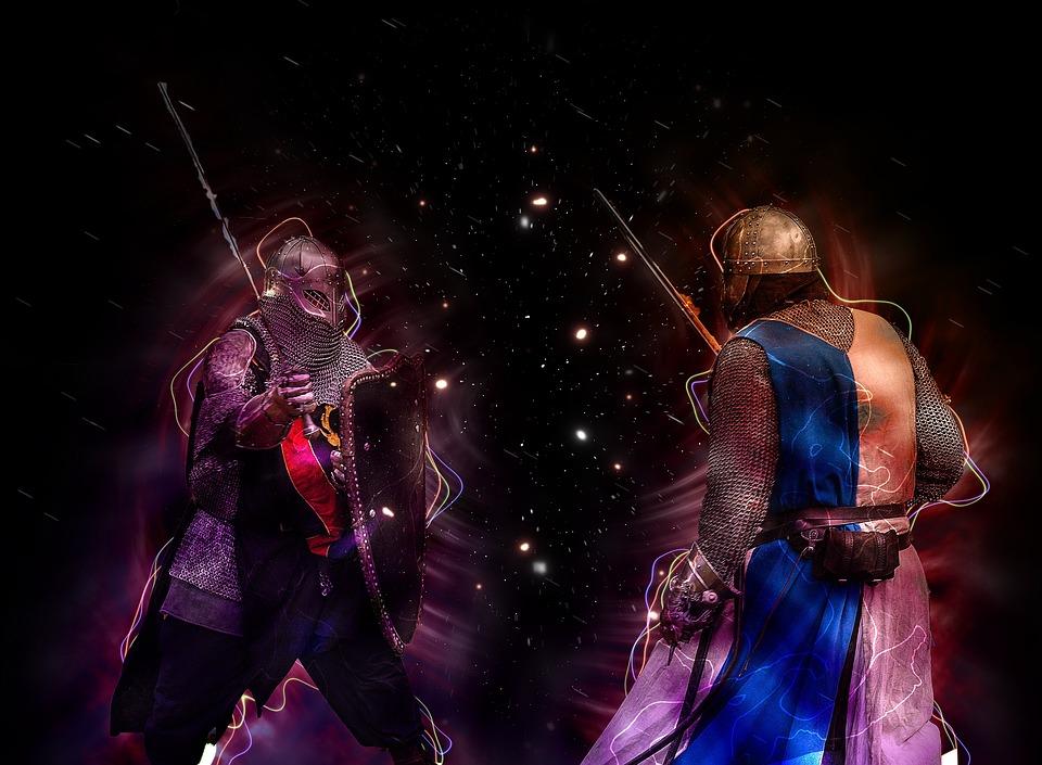 ナイト, 兵士, 戦士, 中世の, 剣, 戦争, ヘルメット, 戦い, 黒戦