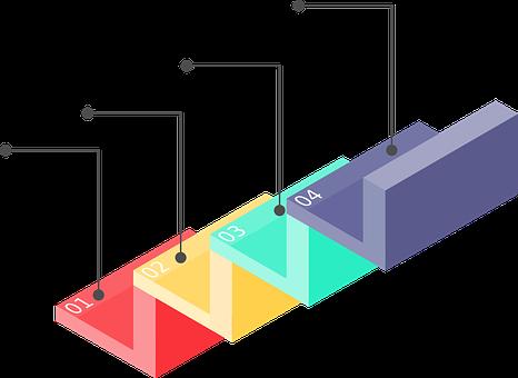 インフォグラフィック, 階段, 進行状況, ステップ, 情報, テンプレート