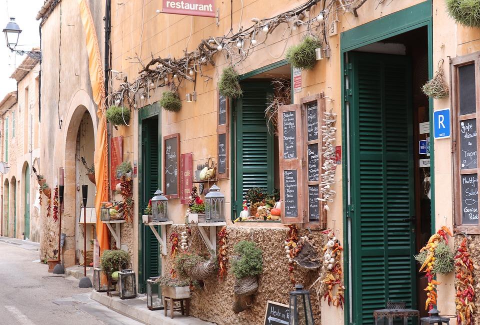 Shops, Mediterranean, Alley, Restaurant, Mallorca, Road
