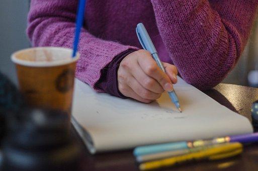Prozess, Zeichnung, Stift, Hände, Pinsel