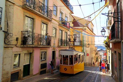 リスボン, カラフル, 町の中心部, ポルトガル, メトロポリス, 古い