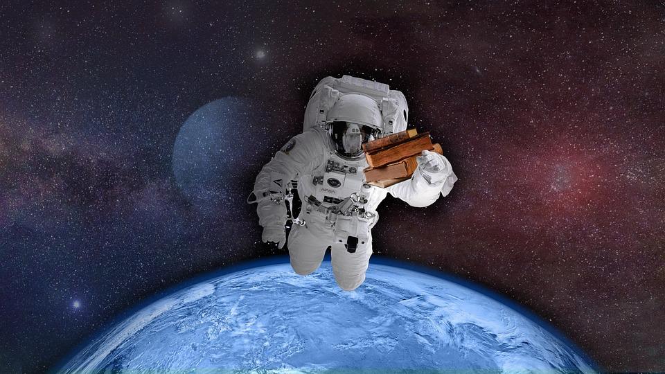 Astronauta, Przestrzeń, Świata, Ziemi, Książek, Lektor