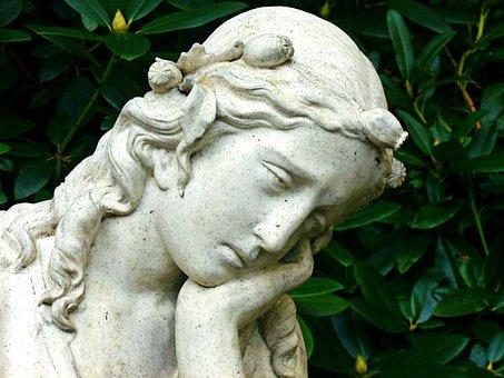 天使, 女性, 頭, 顔, フィギュア, 彫刻, 天使の顔, 女らしさ