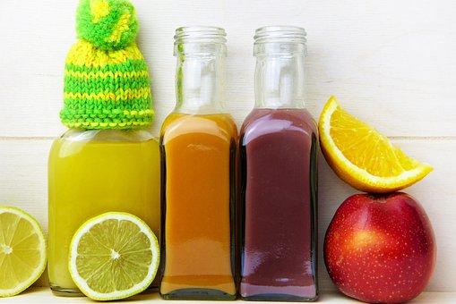 ジュース, レモン, オレンジ, アップル, キャップ, ビタミン, 健康
