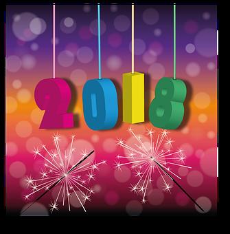 Neujahr, 2018, Wunderkerzen