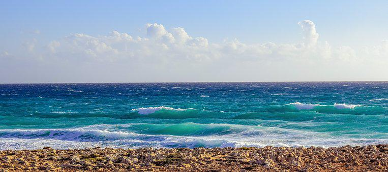 Rocky Coast, Sea, Waves, Horizon, Sky