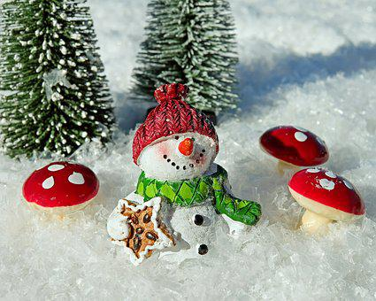 Snow Man, Snow, Crystals, Sparkle
