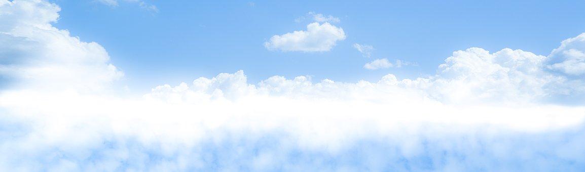 Blue, Sky, Merge, Clouds, Fluffy, White