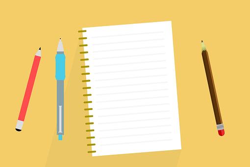 デスク, メモ, ノート, アルバム, 書きます, ペン, 鉛筆, 問題, 本