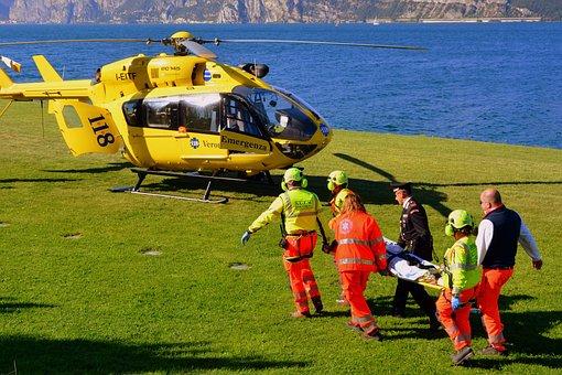 Rescate, Helicóptero, Lago, Prato, Garda