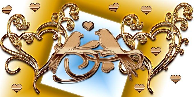 Coeur, Bird, Or, Amour, Arrière Plan