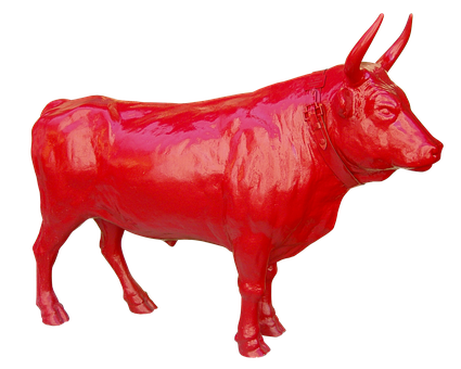 Bull, Red, Strong, Flock, Pasture, Farm