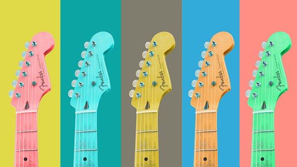 ギター, 文字列, 楽器, カラフル, 音楽, 石, バンド, バックグラウンド