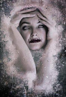 ホラー, 気味の悪い, 暗い, ゴシック, ハロウィーン, 肖像画, ホラー画像