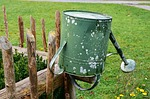 fence, garden fence, watering can
